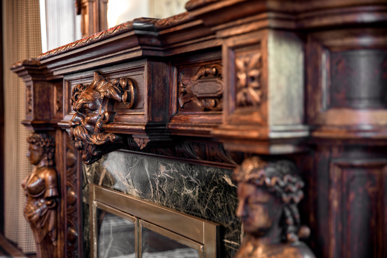 Maybrook Mansion - fireplace detail